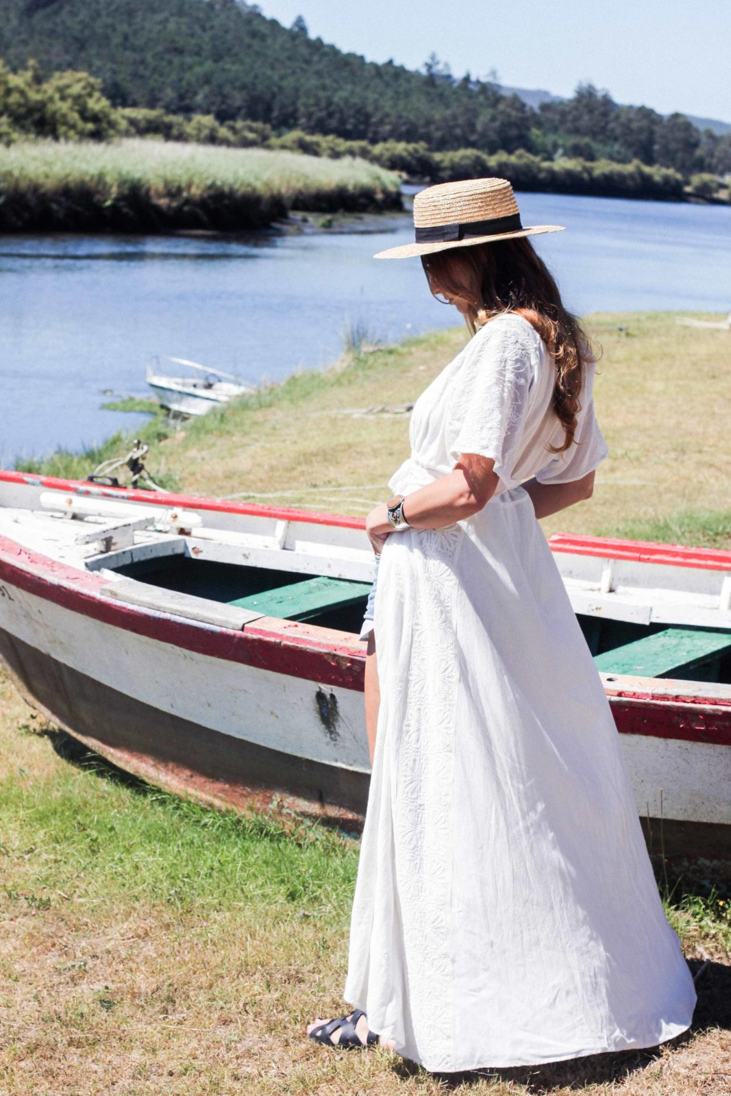 vestido cruzado largo canotier