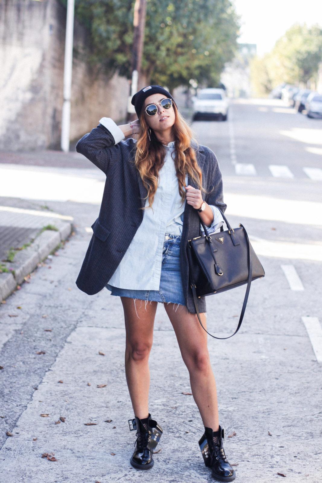 gorrito blazer oversize minifalda vaquera